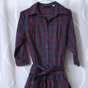 NEW Vintage plaid flannel tunic shirt dress